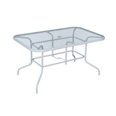 Mesa rectangular con vidrio 140 x 90 cm blanca