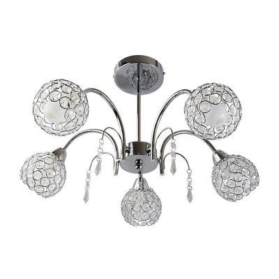 Lámpara colgante 40W Tapalpa plata 5luces E14 vidrio 55cm