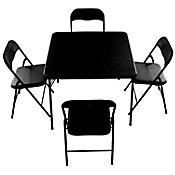 Comedor con 4 sillas plegables negro