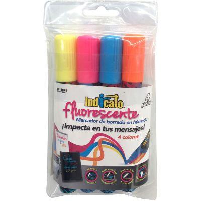 Marcadores Indicato 4 piezas fluorescentes
