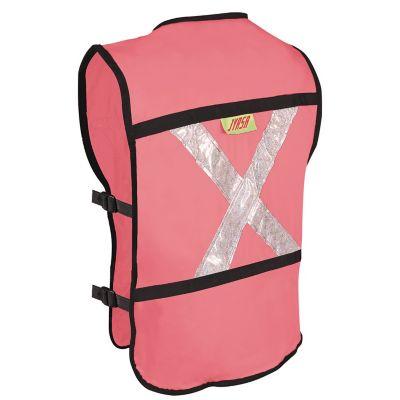 Chaleco con reflejante de rescatista rosa c/ 4 bolsas