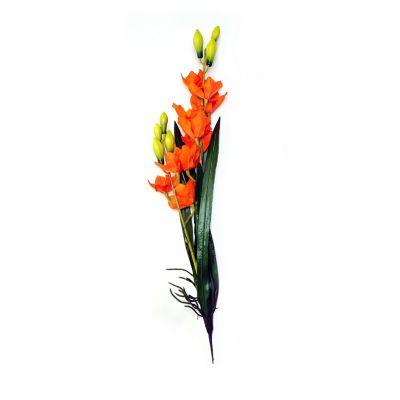 Orquídea c/raíz y hojas naranja