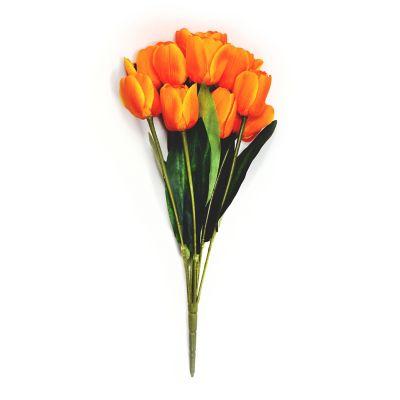 Ramo de 11 tulipanes naranja mango