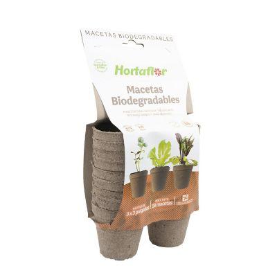 Maceta biodegradable fertil paquete con 18 pzas