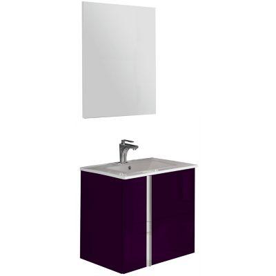 Mueble de baño Onix con espejo berenjena