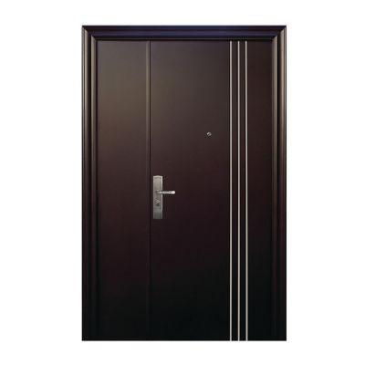 Puerta seguridad 3L Plus chocolate con fijo derecha 130 x 213 cm