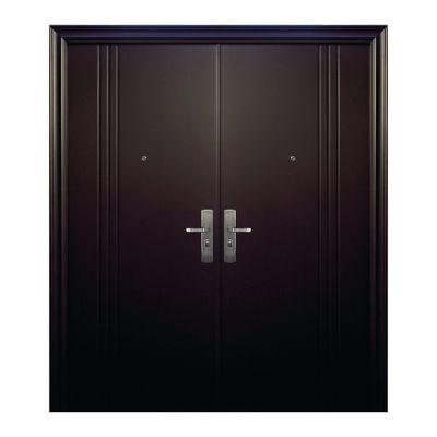 Puerta seguridad 3L chocolate doble izquierda 170 x 213 cm