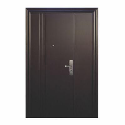 Puerta seguridad 3L chocolate con fijo izquierda 130 x 213 cm