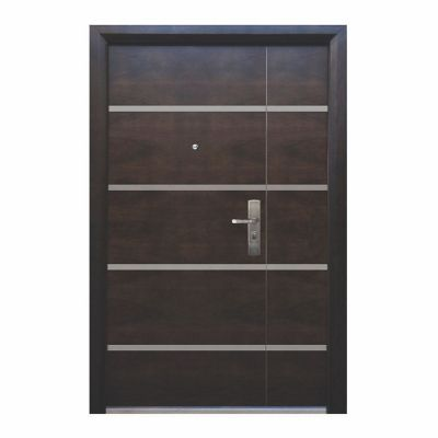 Puerta seguridad Firenze nogal con fijo izquierda 130 x 213 cm