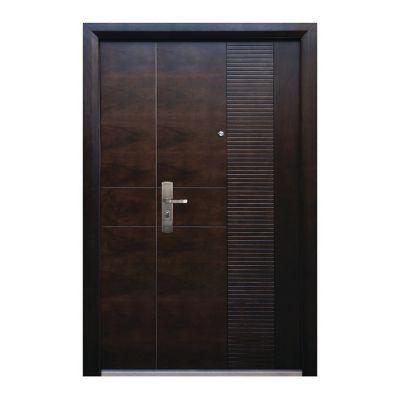 Puerta seguridad Módena nogal con fijo derecha 130 x 213 cm