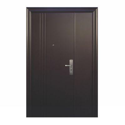 Puerta seguridad 3L chocolate con fijo izquierda 120 x 213 cm