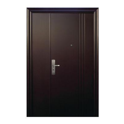 Puerta seguridad 3L chocolate con fijo derecha 130 x 213 cm