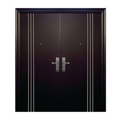 Puerta seguridad 3L Plus chocolate con fijo doble derecha 170 x 213 cm