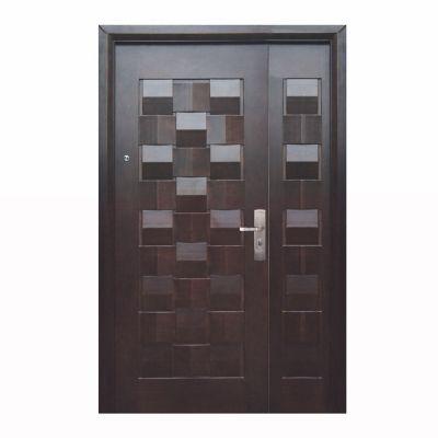 Puerta seguridad Master nogal con fijo izquierda 130 x 213 cm