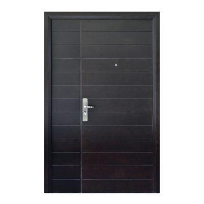 Puerta seguridad Contempo nogal con fijo derecha 130 x 213 cm
