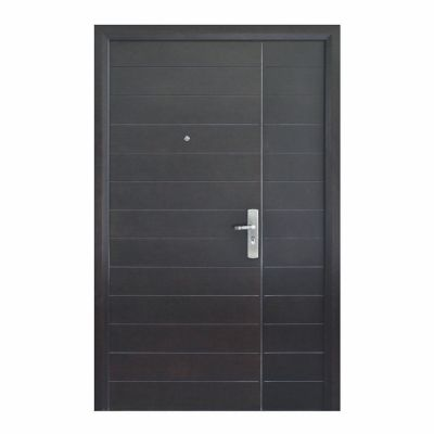 Puerta seguridad Contempo nogal con fijo izquierda 120 x 213 cm