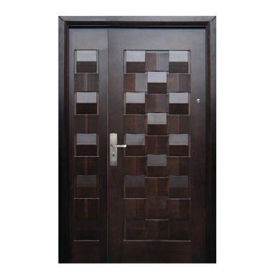 Puerta seguridad Master nogal con fijo derecha 130 x 213 cm