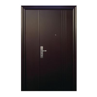 Puerta seguridad 3L chocolate con fijo derecha 120 x 213 cm