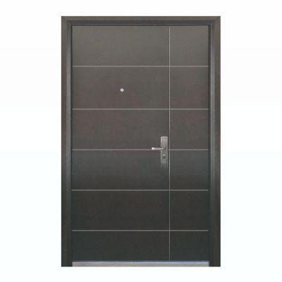 Puerta seguridad Contour nogal con fijo derecha 130 x 213 cm