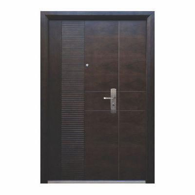 Puerta seguridad Módena nogal con fijo izquierda 130 x 213 cm