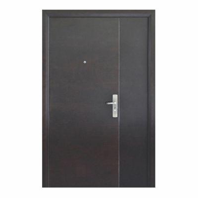 Puerta seguridad Simple nogal con fijo izquierda 130 x 213 cm