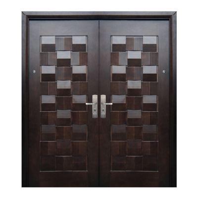 Puerta seguridad Máster nogal doble izquierda 170 x 213 cm