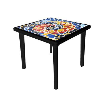 Mesa cuadrada negra con calca