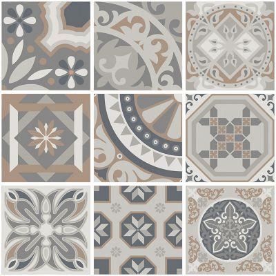 Piso cerámico Mosaico gris 44x44 cm