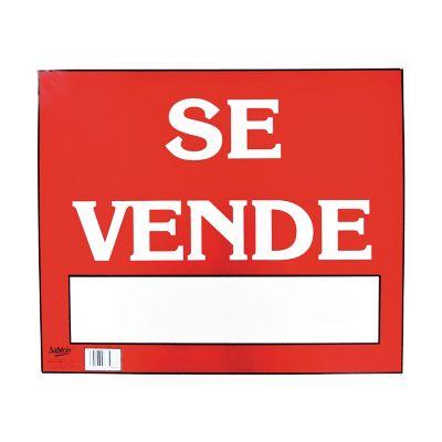 "Señal en poster ""se vende"" lámina de estireno 40 x 34 cm"