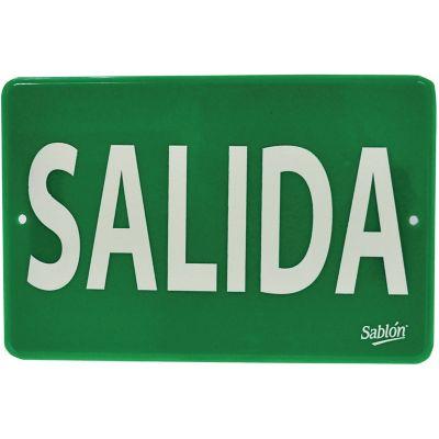 "Señal  de ""salida"" placa rígida auntoadherible 22.8 x 15.2 cm"