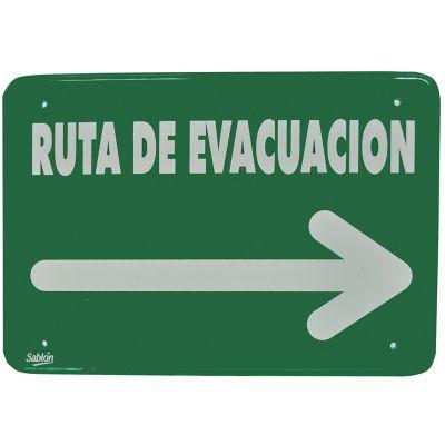 """Señal """"ruta de evacuación flecha derecha"""" placa rígida autoadherible 35 x 24 cm"""