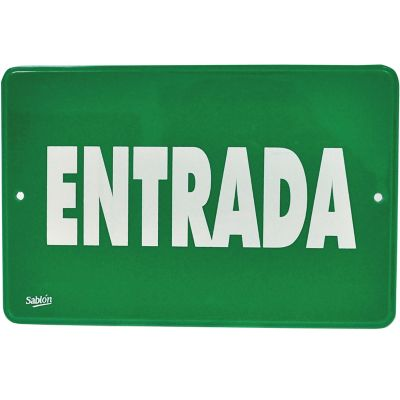 "Señal ""entrada"" placa rígida autoadherible 22.8 x 15. 2 cm"