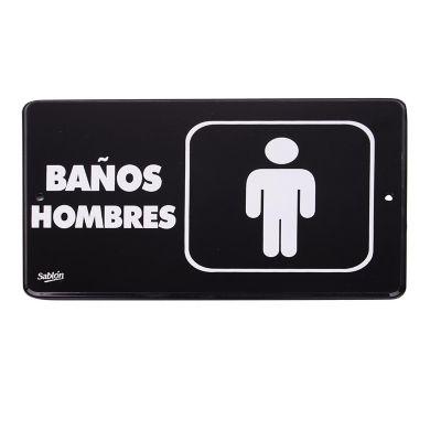 "Señal "" baños hombres"" placa rígida autoadherible 22.8 x 15.2 cm"