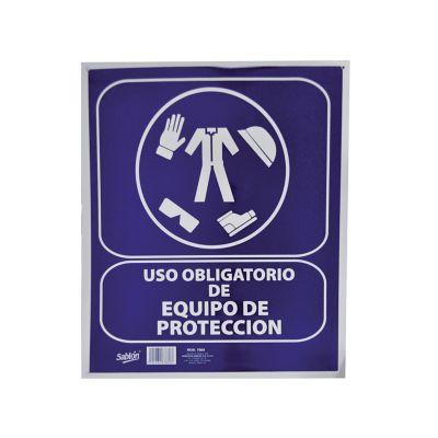 """Señal en poster """"uso obligatorio de equipo de protección"""" lámina estireno 40 x 34 cm"""