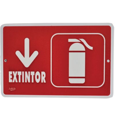 "Señal ""extintor"" placa rígida autoadherible 22.8 x 15. 2 cm"