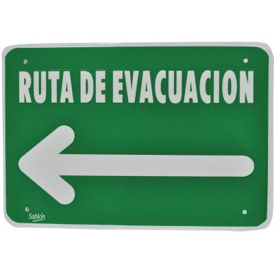 """Señal """"ruta de evacuación flecha izquierda"""" placa rígida autoadherible 35 x 24 cm"""