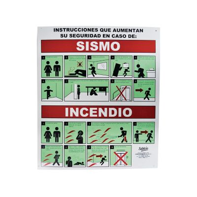 """Señal en poster """"en caso de incendio y sismo"""" lámina estireno 40 x 34 cm"""