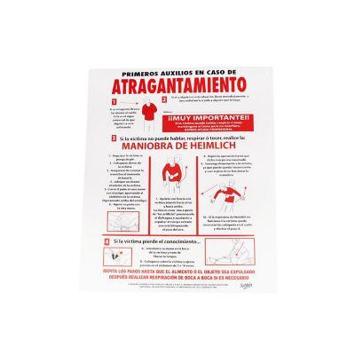 """Señal en poster """"en caso de atragantamiento"""" lámina estireno 40 x 34 cm"""