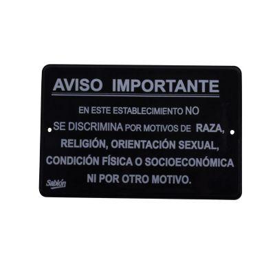 """Señal """"no discriminación"""" placa rígida autoadherible 22.8 x 15.2 cm"""