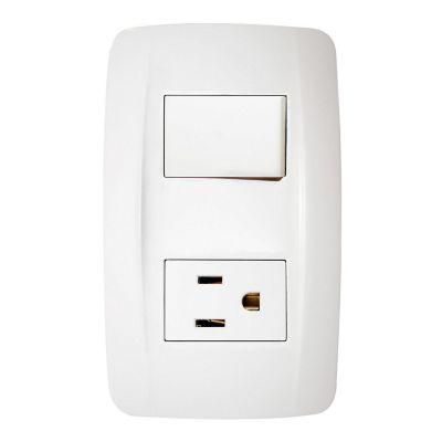 Interruptor sencillo c/toma corriente