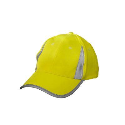 Gorra de seguridad en poliéster c/reflejante amarilla