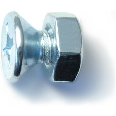 Tornillos sin fin planos zinc c/tuercas 1/4-20 x 1/2 6 pzs.