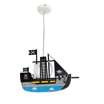 Colgante infantil barco pirata metal plástico E26
