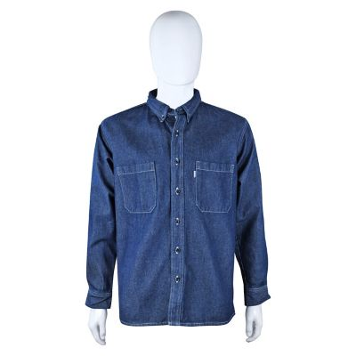 Camisa industrial mezclilla 100% algodón manga larga 10.5 oz azul prelavado T-38