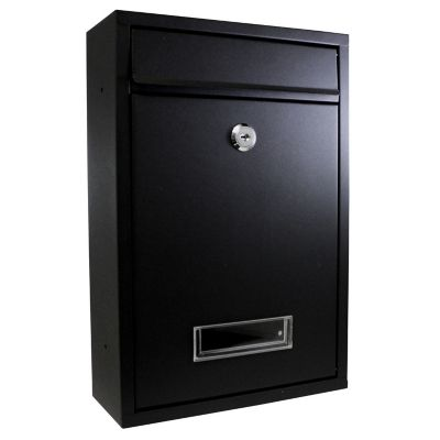Buzón de acero galvanizado 22 x 32 x 8.5 cm negro