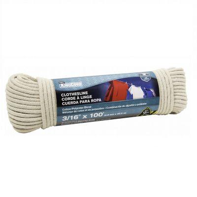 """Cuerda de poliéster y algodón p/tendedero 3/16"""" x 30 m blanca"""