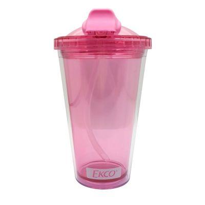 Vaso c/  popote de plástico 450 ml