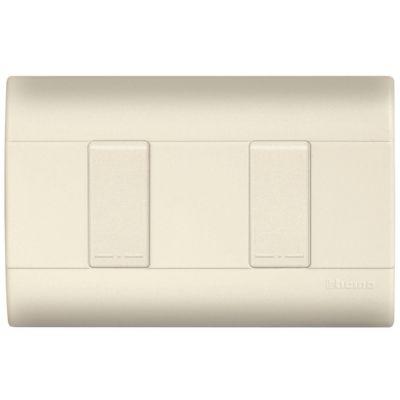 Placa color marfil c/2 interruptores sencillos