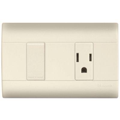 Placa color marfil c/1 interruptor sencillo + 1 toma 2P + T