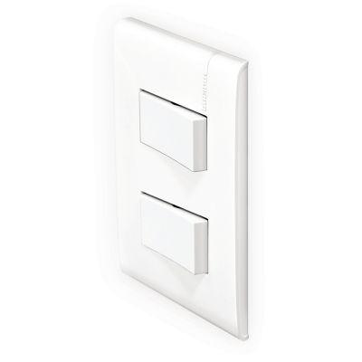 Placa c/2 int. sencillos color blanco (armada)